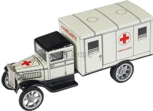 Hawkey ambulance - bílá - plech KOVAP