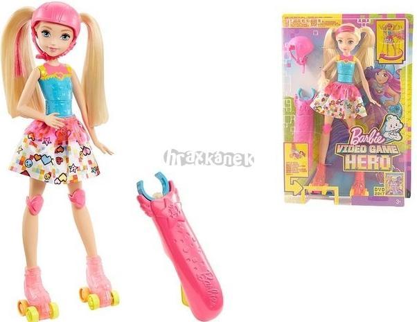 Mattel Barbie ve světě her na bruslích + dárek chrániče na brusle