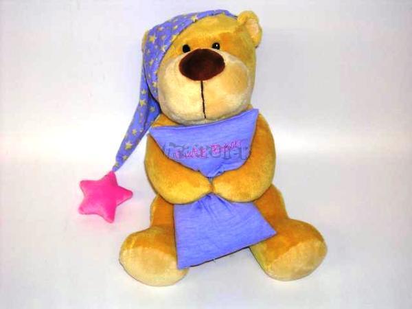 Medvídek s čepičkou a polštářkem 35 cm