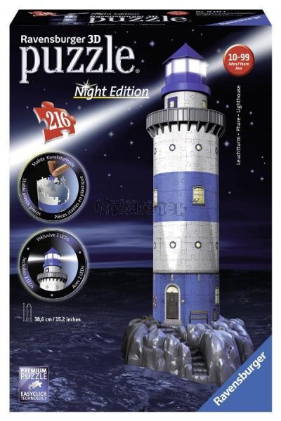 Puzzle 3D Maják v příboji - Noční edice 216 dílků