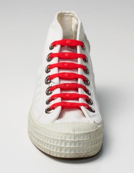 SHOEPS - Silikonové tkaničky - červené RED