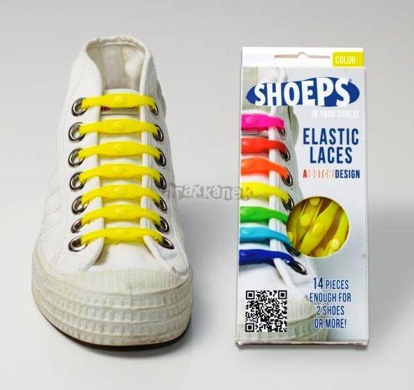 SHOEPS - Silikonové tkaničky světle žluté