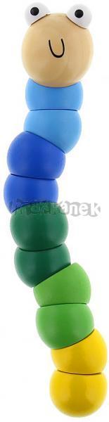 Teddies dřevěné kloubové zvířátko housenka modrá