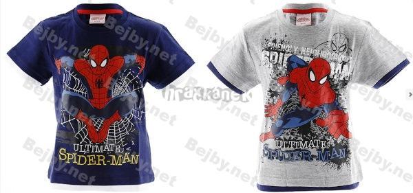 Trička 2 ks krátký rukáv Spiderman tmavě modré a šedý melír 5-6 let
